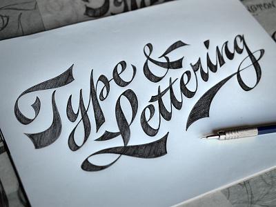 New T&L Pencil Case Lettering lettering script pencil sketch drawing spencerian calligraphy hand-drawn pen cursive penmanship logo