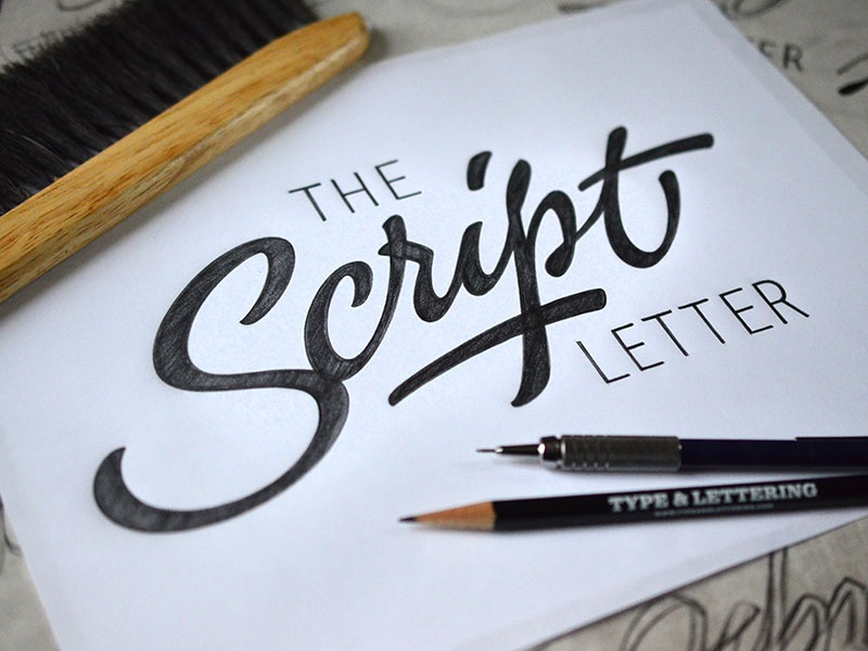 The Script Letter script lettering pencil sketch drawing logo calligraphy hand-drawn pen cursive brush typography