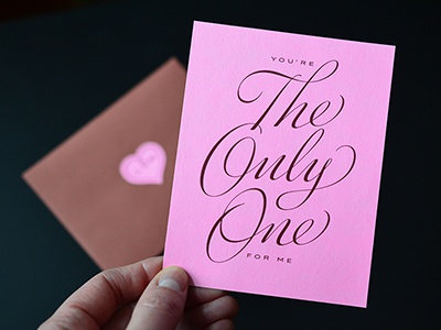 You're The Only One For Me script lettering cursive calligraphy penmanship type typography valentine love logo handwriting heart