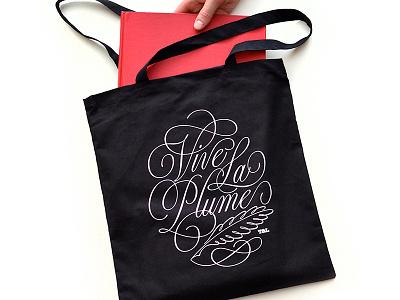 Vive La Tote lettering script calligraphy copperplate spencerian type typography design logo tote bag print