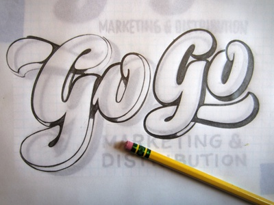 T&L Go Go Sketch lettering script pencil sketch drawing hand-lettering hand-lettered hand-drawn