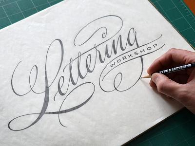 Lettering Workshop lettering script pencil sketch drawing hand-drawn hand-lettered hand-lettering cursive spencerian flourish flourished flourishes workshop type and lettering pointed pen