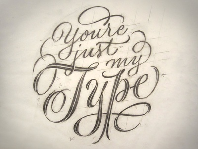 Just My Type Initial Sketch lettering script pencil sketch drawing flourish spencerian calligraphy typography type and lettering pointed pen