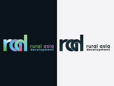 Rural Asia Development LOGO rural logo rural asia logo rad design rad letter logo rad rad logo vector design adobe illustrator minimal logo typogaphy branding logodesign
