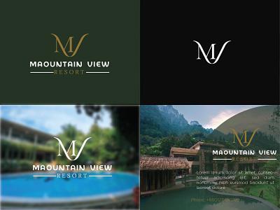 Mountain View Resort mountain resort clean mv logo modern mv mountain view logo hotel logo resort logo mv logo mv design adobe illustrator typogaphy logo minimal logodesign branding