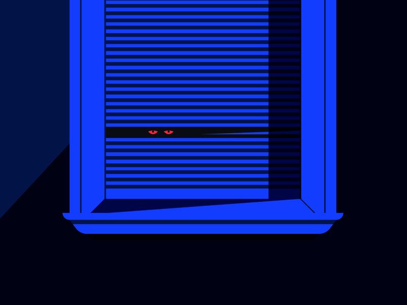 Night Voyeur shadow voyeur color art blue clean geometric simple illustration vector