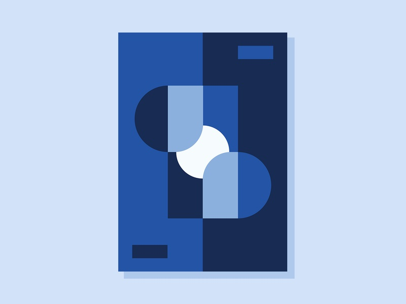 Exercise 29 conceptual minimalist simplicity clean geometric blue vector illustration art abstract