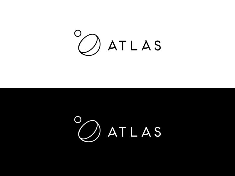 Atlas white black conceptual abstract space celestial geometric sphere outline vector simple monoline minimalist real estate branding atlas logo identity