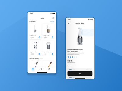 Dyson App Concept ux ui minimal flat design app