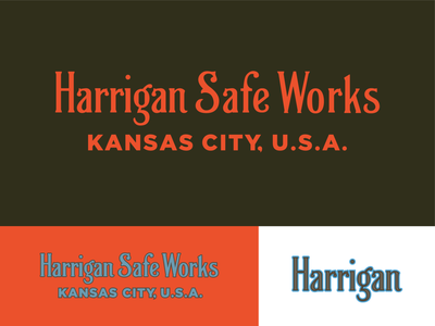 Harrigan Safe Works vintage font kansas city logo vintage