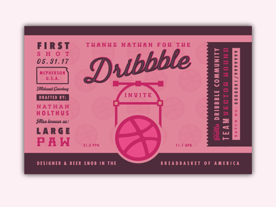 Dribbble Debut beer can dribbble ball typography label vector nathan kansas beer debut