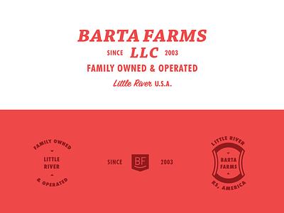 Barta Farms farming red little river family owned cattle farm logo brand