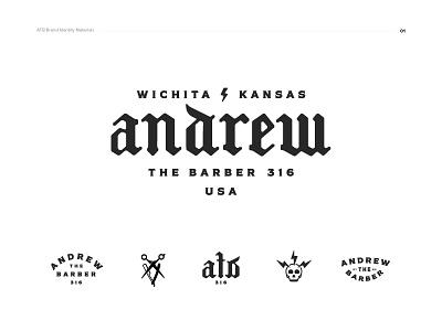 Andrew the Barber Logo barbershop kansas wichita typography logo typeface skull scissors barber