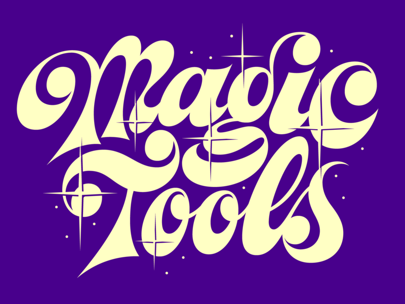 Magic Tools shine logo 1970s lettering groovy type illustration