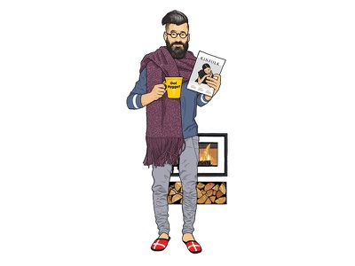 GQ: How to spot the Hygge Junkie log fire gq beard scarf mug kinfolk hipster illustration cosy hygge
