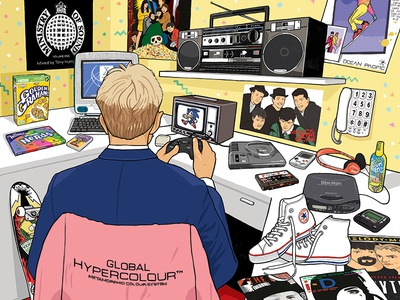 GQ: How to spot the Xennial melody maker i-d the face goonies converse hightops discman golden grahams ministry of sound global hypercolour gq illustration xennial