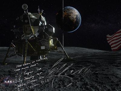 Nasa moon landing flat ux vector ui illustration logo icon design branding app