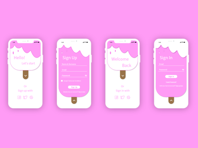 Mobile Sign up and Sign in Forms pink pinky lovely sign in form sign in page sign in ui sign up ui sign up page sign up form sign up dailyui001 dailyui challange ux app ui design dailyuichallenge