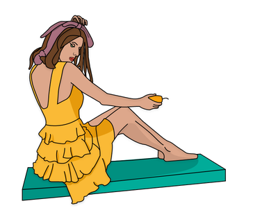Girl Sitting adobe xd design adobe xd picture woman sitting body face minimal yellow girl illustraion drawing