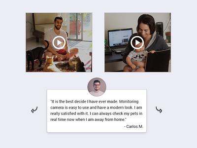 Testimonial desktop design simple design testimonials testimonial review video slider 039 dailyui039 ux webpage website web design dailyuichallenge
