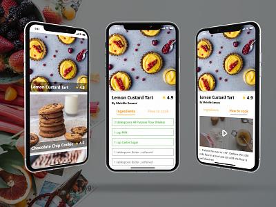 Recipes App dessert mobile ios instructions food app recipes app recipe app recipes recipe 040 dailyui040 adobe xd dailyui app ux challange ui design dailyuichallenge