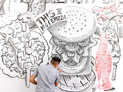 No clean white boards fast illustration pizza coke mural cheeseburger food burger whiteboard