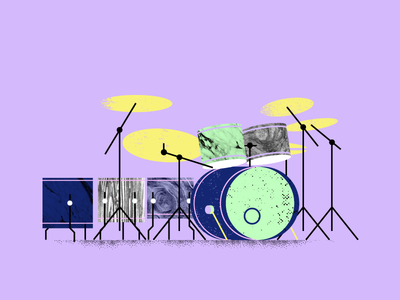 7 Piece rock grain drums texture instrument music drumset