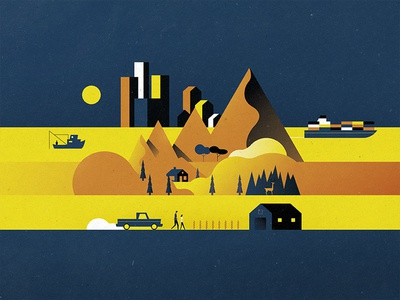 Wealth of Nations cityscape texture mountains fishing truck farm forest boat world city