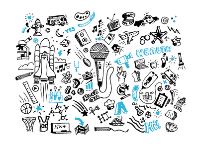 Doodles lettering health music sports science collage freehand hand drawn icons doodles