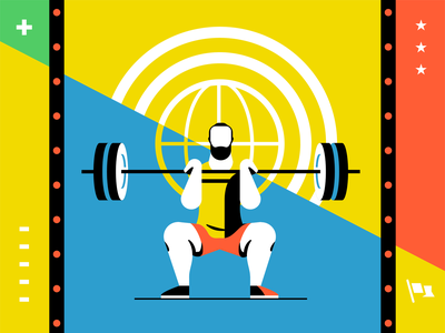 CrossFit Style Exploration illustration weightlifting fit people sports gym squat fitness crossfit