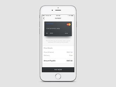 Payment Screen card cart payment