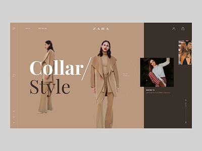 Zara Website Concept pagination webdesign web website home page design brand dressing ux zara flat ui minimal interaction design menu animation slide design fashion ecommerce clothing brand concept uidesign