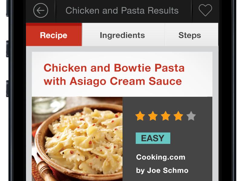 Recipe app  interface contrast recipe cooking