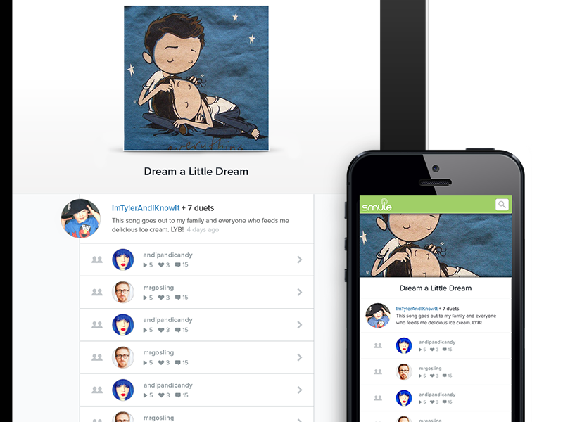 Responsive Design for Duet Page rwd smule