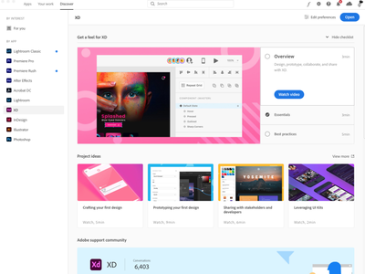 Visual design for new Adobe Discover tab brand design