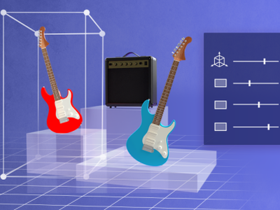 Adobe Substance Stager thumbnails for HelpX and Discovery interface mockups scenes guitar adobe substance 3d design graphic design