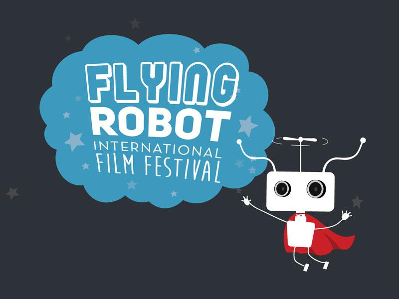 Flying Robot Film Festival Logo robots logo typography illustration
