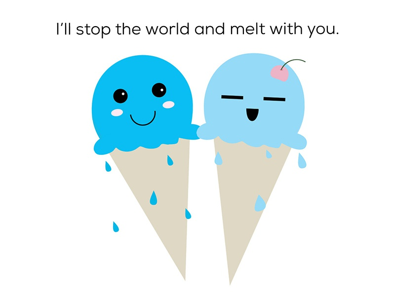 I'll stop the world and melt with you lyrics cute illustration