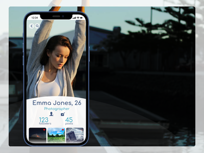 Daily UI #006 • User Profile blue iphone 12 nature photography nature girl photos photo profile page profile ui app flat design