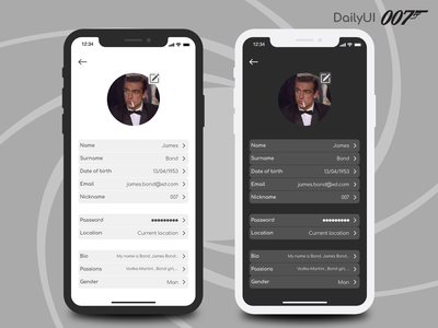 Daily UI #007 • Settings settings ui settings setting sean connery james bond 007 light mode dark mode dark ui dark light gray ui app flat design