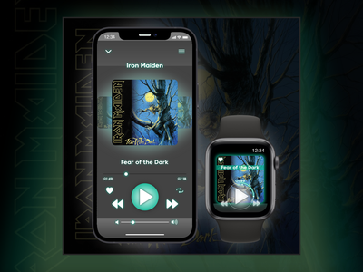 Daily UI #009 • Music Player dailyuichallenge daily ui dailyui iron maiden apple watch iphone 12 music player player music dark mode gray minimal app ui design