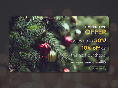 Daily UI #016 • Pop-Up / Overlay timer offer sales promo christmas overlay popup dailyuichallenge daily ui dailyui design