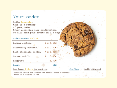 Daily UI #017 • Email Receipt email receipt email design chocolate brown dailyuichallenge daily ui dailyui cookie summary email ui design