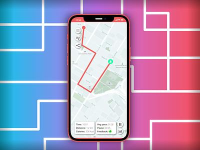 Daily UI #020 • Location Tracker running app running tracking tracking app iphone ios dailyui dailyuichallenge daily ui minimal app ui design