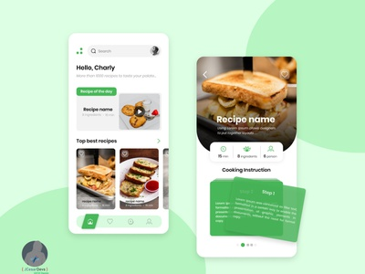Concept Food Recipes UI design ux ui app
