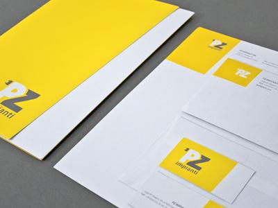 Pz Impianti | Stationery stationery yellow print ecological coordinate brand identity
