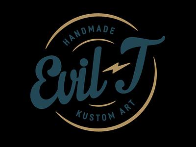 Evil-T Logo lightning vector art handmade logo