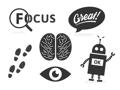 Design Principles eye footsteps magnify brain robot icons design principles illustration
