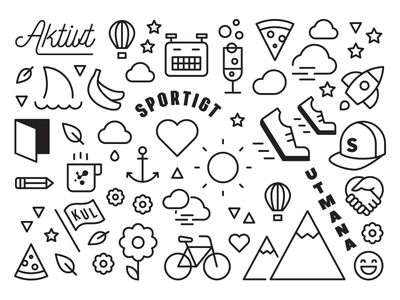 Values illustration mural icons values