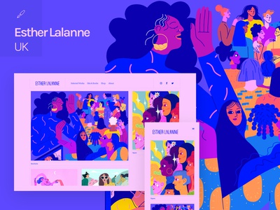 Fabrik x Esther Lalanne animation personality humour colourful women women empowerment women in illustration diversity drawing strong feminine design female female character illustrator portfolio site illustration website builder portfolio website website portfolio